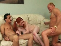 Glassed Redhead Teen Gets Paid To Have a Threesome With Two Old Men