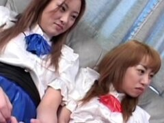Two Japanese cuties are sucking pussies