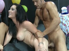 Birthday party turns into a hot threesome party
