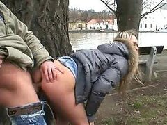 Teen Getting Fucked Doggystyle Outdoors