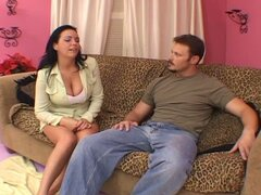 Voluptuous brunette milf flirting with muscled hunk for drilling