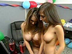 Office Party Becomes Lesbian Licking Fun