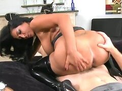 Sexy brunette Kiara Mia gets fucked in her new latex clothing