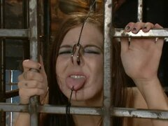 Dominating man is sexually torturing redhead girl involving piercing BDSM and bondage