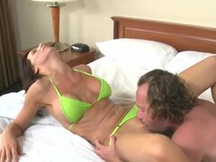 Having his lust set on beautiful Karina Shay at the beach, horny Hunter Bryce invited her back to his hotel. Once inside, Hunter licks Karina's pussy senseless with his skillful mouth.