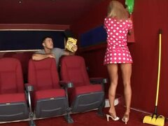 Jane Kyle the horny cleaning lady gets fucked in cinema