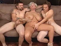 Chunky mature fucked by two lusty guys