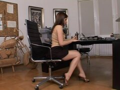 Lustful girl has the office toying her ass