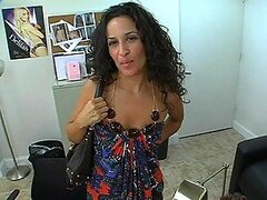 Nasty curly brunette in high heels fucks at the interview
