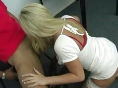Busty blonde doctor shagging in white stockin gs