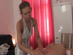 Granny masseuse gets her hairy hole nailed