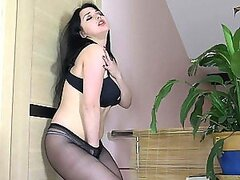 Hot Brunette With Big Natural Tits Masturbates With Pantyhose On