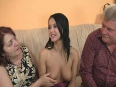 Girl seduced by granny and fucked by daddy