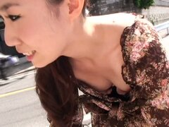 Asian model street job interview downblouse candid video