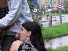 Pregnant girl street public threesome sex by a busy commute road AWESOME