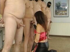 Slutwife gangbanged by 8 men at home
