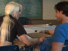 Wonderful blonde gets horny at school