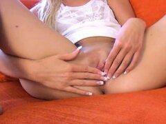Czech blondie girl playing with toys