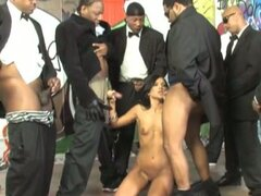 Ashli orion suck a lot of black dicks in an orgy session