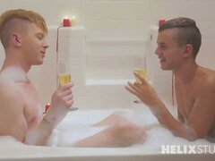 Ian Levine is Kyler's Valentine and he's throwing out all the romantic stops with champagne, candles and a bubble bath. The horny young lovers get dirty in the tub. Ian goes down on Kyler's cock as he fingers his ass gently. Tight, young 18 year old Ian t