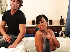Lisa Ann gets fuck with her son's friend in the tub!