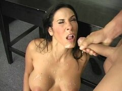 Watch sexy porn starlett Veronica Rayne get hosed down with cock cum