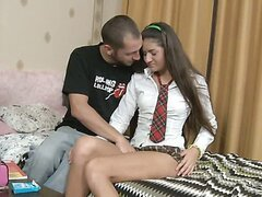 Andrea was hot in her miniskirt that gave him easy access to all of her holes.