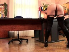 Secretary forgets about daily chores as she fucks herself on the table