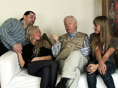They go for a casting and end up fucking on set with two mature guys!