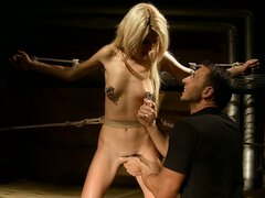 Blondie goes from the meat market to the dungeon for hardcore BDSM