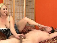 Worn-out blonde dominates the lousy prick with her playful mouth