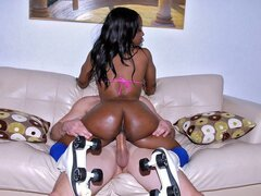 An enticing ebony teen leaves her skates on as she's pummeled by a dagger