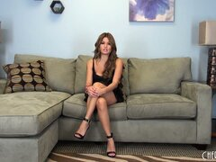Charmane Star takes off her dress and gives an interview in her lingerie