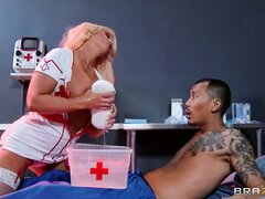 The blonde nurse has superb tits and is eager to bring her fantasies to fruition
