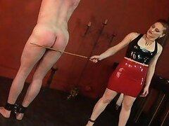 Nasty mistres gemini whips her slave on the ass