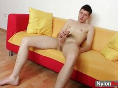 Kinky twink jerking off solo using a male toy