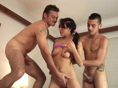 Rough Latina teen sex in threesome