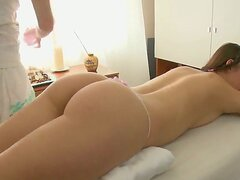 Teen girl Dania came to take some relaxing massage, she undressed and laid on couch in only panties, naughty massagist relaxed her and pulled off her panties to rub her fresh tight pussy!