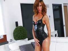 Dazzling Gladys in Latex Takes a Hard Pole