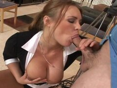 Milf in blouse and sweater combo fucked