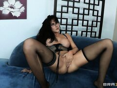 Busty MILF in slutty lingerie gets blasted with a POV facial