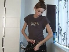 Extremely delicate skinny girl peeing