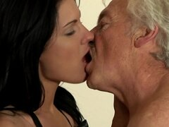 Cute Sara takes that old dick in her mouth