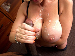 Big tit Sara Jay gets her juicy melons covered with cum