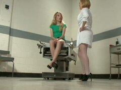 A naughty nurse & doctor dominate a patient's ass