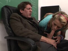 Young blond bombshell in pink seduces her teacher