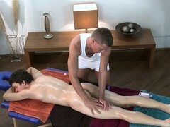 This gay masseur wants to massage his client's ass with his dick