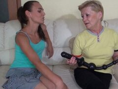 Granny and Teen play with toy