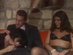 Classic threesome on red couch