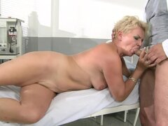 Blonde granny Helen has sex with a lewd doctor in the hospital